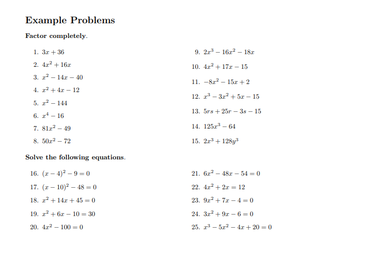 Quadratic Equation Worksheets PDF