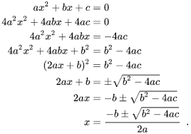 Formula for Quadratic Equation