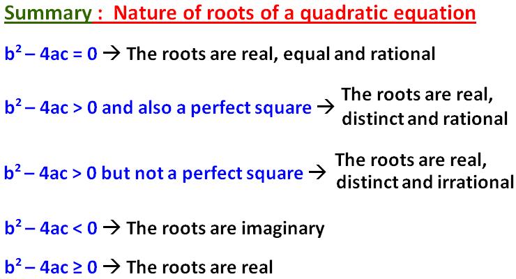 General Properties of Quadratic Equation