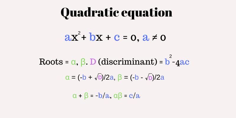 Quadratic Equation Coefficients