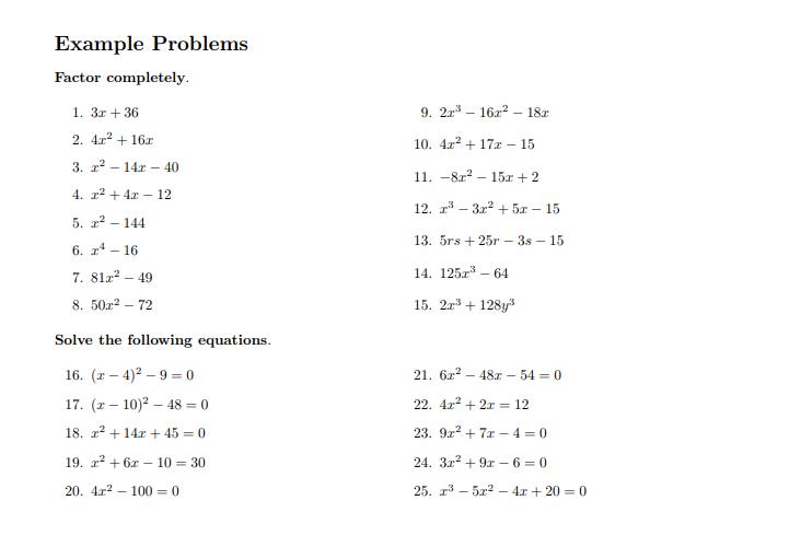 Quadratic Equation Worksheet