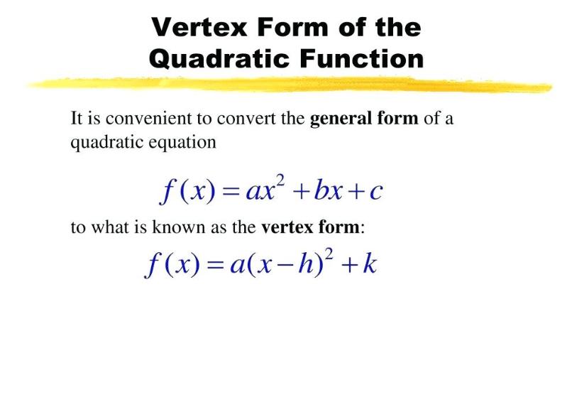 Vertex Quadratic Equation