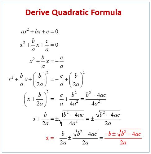 quadratic equation derivation